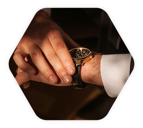 Hexagon shape with watch on wrist