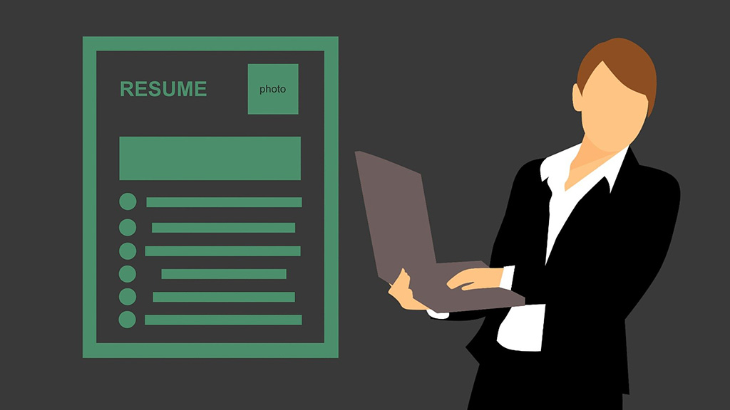 A graphic of a professional holding a laptop next to a resume layout